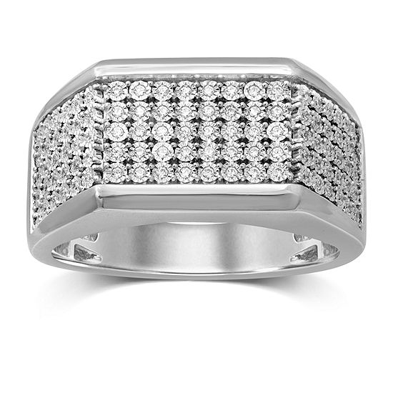 Mens 1/4 CT. T.W. Genuine Diamond Sterling Silver Fashion Ring