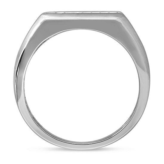 Mens 1/4 CT. T.W. Genuine Diamond Sterling Silver Fashion Ring