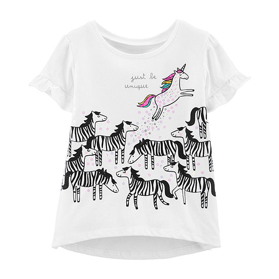 Carter's Girls Round Neck Short Sleeve Graphic T-Shirt-Toddler