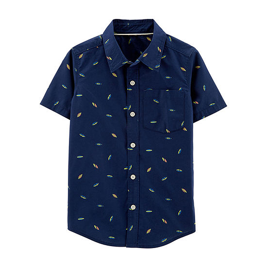 Carter's Boys Short Sleeve Button-Front Shirt Preschool / Big Kid