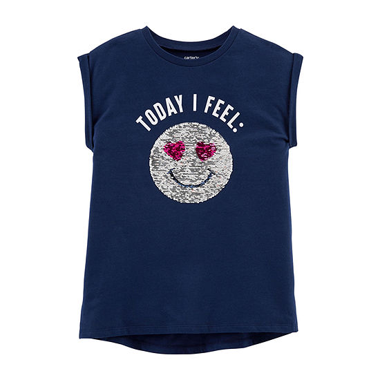 Carters Girls Round Neck Short Sleeve Graphic T Shirt Preschool Big Kid