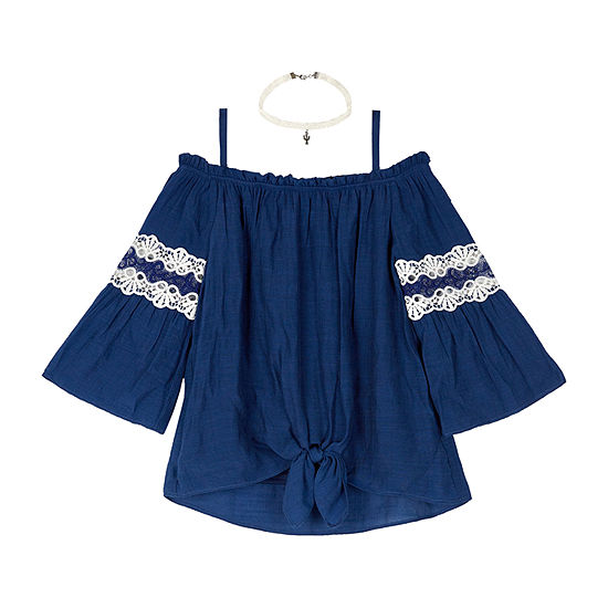 by&by girl Girls Square Neck 3/4 Sleeve Blouse Preschool / Big Kid