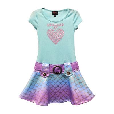 Lilt Short Sleeve Drop Waist Dress Girls