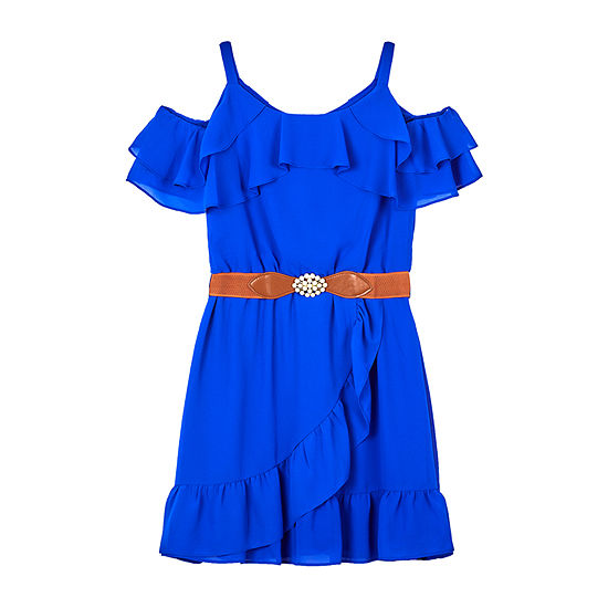 by&by girl Girls Belted Short Sleeve Cold Shoulder Sleeve A-Line Dress - Big Kid