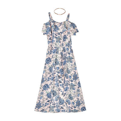 by&by girl Short Sleeve Cold Shoulder Sleeve Floral Maxi Dress Girls
