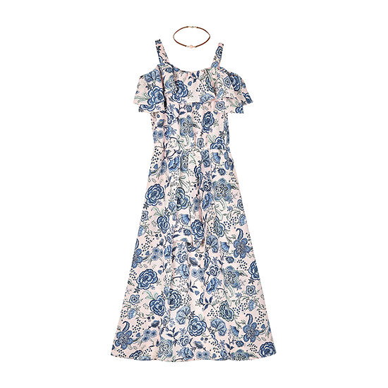 by&by girl Girls Short Sleeve Cold Shoulder Sleeve Floral Maxi Dress - Preschool / Big Kid