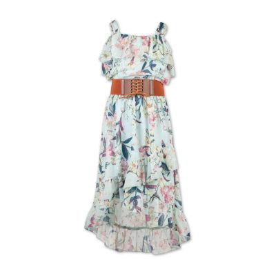 Speechless Belted Short Sleeve Cold Shoulder Sleeve Fit & Flare Dress - Big Kid Girls
