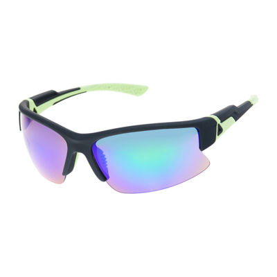 Xersion® Blade Sunglasses with Blue Green Multi Layered Mirrored Lens