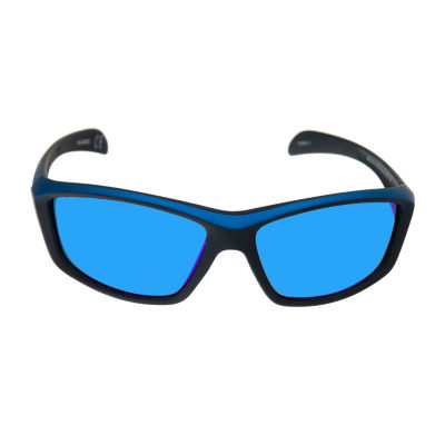 Xersion® Matte Wrap Around Sunglasses with Blue Multilayered Mirrored Lens
