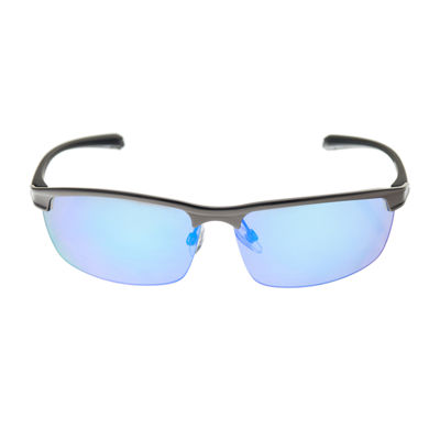 Xersion® Satin Metal Blade Sunglasses with Blue Multilayered Mirrored Lens