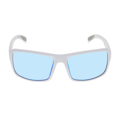 Xersion® Matte White Wrap Around Sunglasses with Blue Multilayered Mirrored Lens