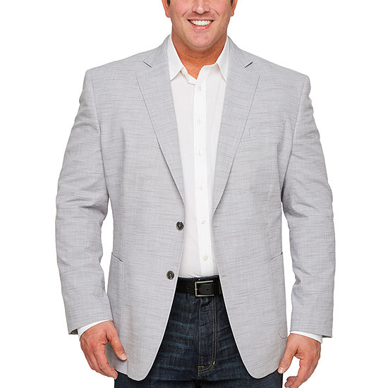 Stafford Medium Gray Slub Classic Fit Sport Coat - Big and Tall