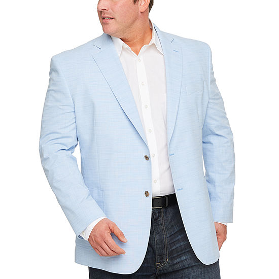 Stafford Light Blue Slub Classic Fit Sport Coat - Big and Tall