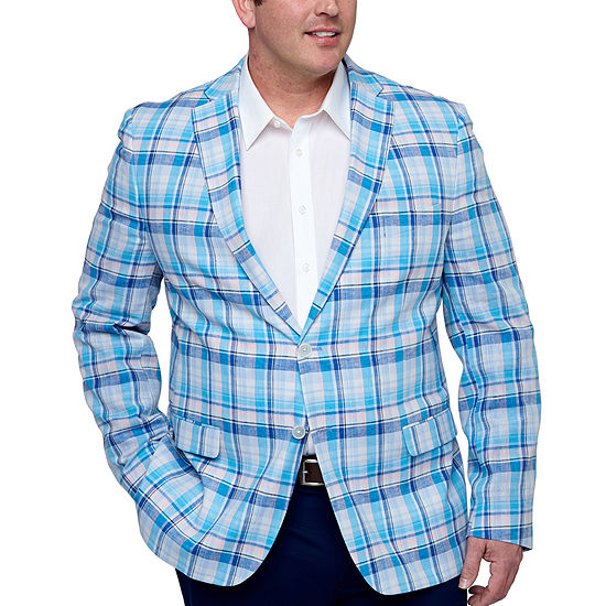 IZOD Mens Blue and Pink Plaid Sport Coat - Big and Tall