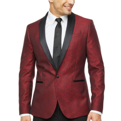 JF J.Ferrar Grid Super Slim Fit Stretch Tuxedo Jacket