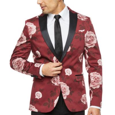 JF J.Ferrar Floral Super Slim Fit Stretch Tuxedo Jacket