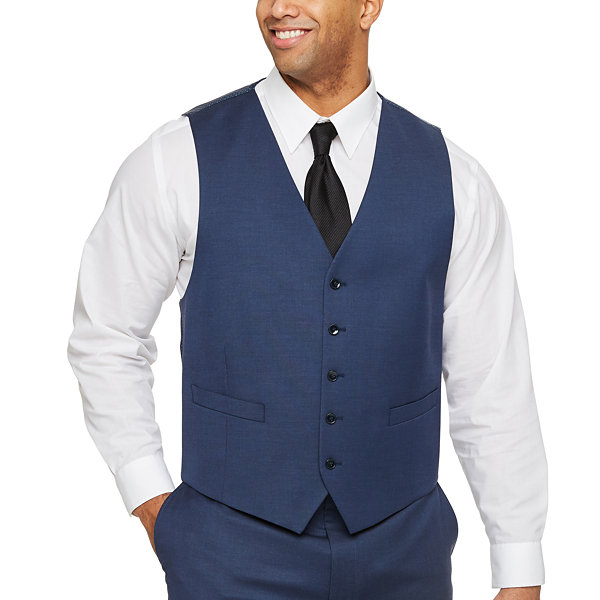 Shaquille O'Neal XLG Blue Solid Mens Stretch Classic Fit Suit Vest - Big and Tall