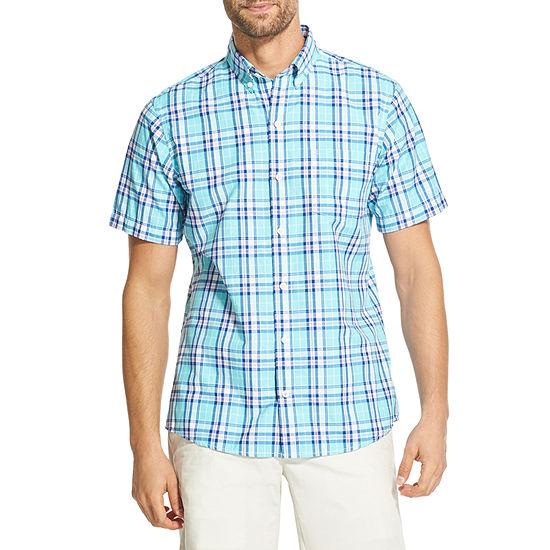 IZOD Breeze Mens Short Sleeve Cooling Plaid Button-Front Shirt
