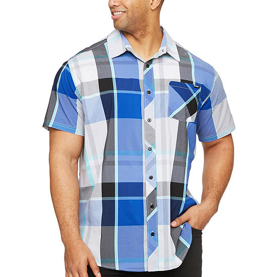 Zoo York Mens Short Sleeve Plaid Button Front Shirt Big And Tall