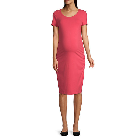 Belle & Sky Maternity Short Sleeve Scoop Neck Shirred Side Dress