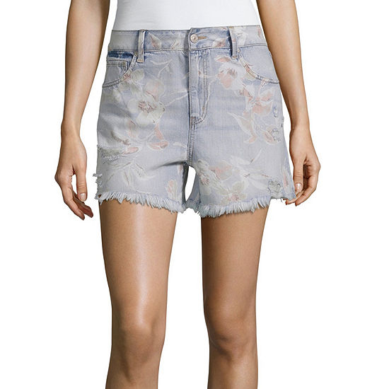 Rewash Womens High Waisted Midi Short-Juniors