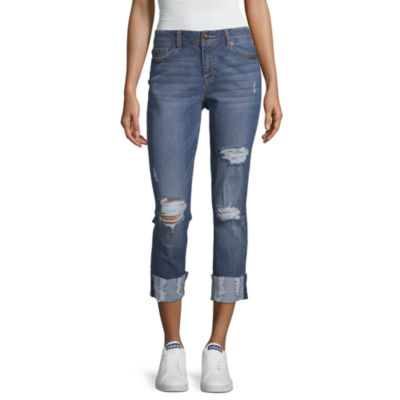Blue Spice Womens High Waisted Cuffed Cropped Jean - Juniors
