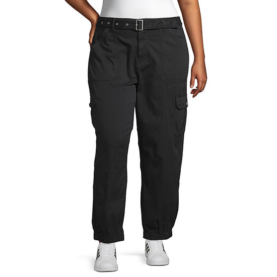 Arizona Womens Mid Rise Cinched Cargo Pant-Juniors Plus
