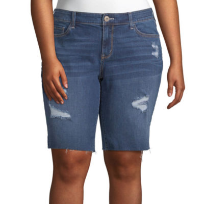 "Arizona Womens Low Rise 11"" Bermuda Short-Juniors Plus"