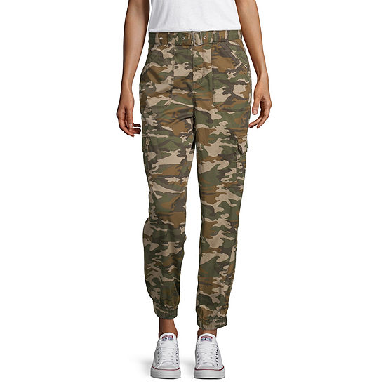 Arizona Womens Mid Rise Cinched Cargo Pant-Juniors