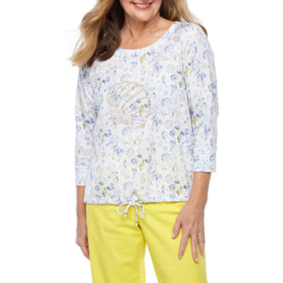 Hearts Of Palm Seas The Day-Womens Scoop Neck 3/4 Sleeve Top