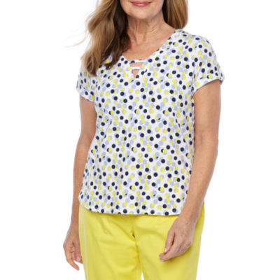 Hearts Of Palm Seas The Day-Womens V Neck Short Sleeve Top