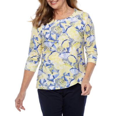 Hearts Of Palm Seas The Day-Womens Scoop Neck 3/4 Sleeve T-Shirt