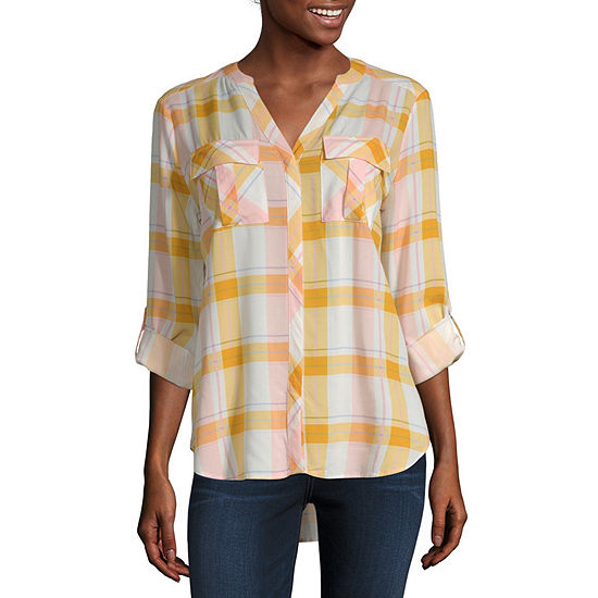 a.n.a Womens Long Sleeve Roll Tab Pleat Pocket Blouse