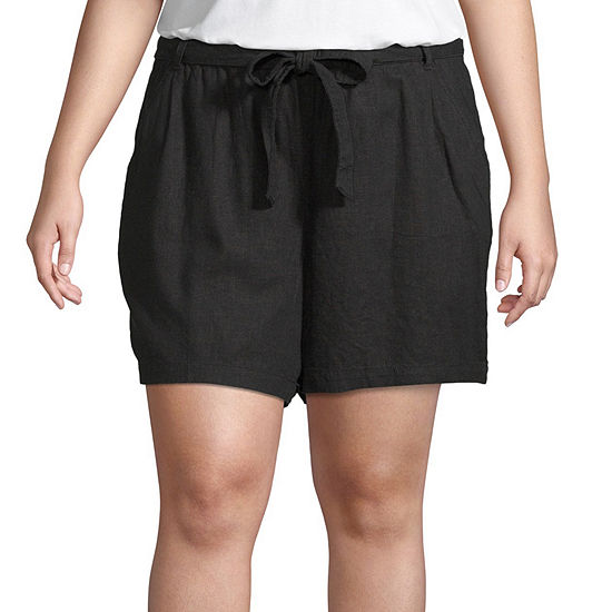 Ana Tie Front Paperbag Waist 5in Shorts Plus