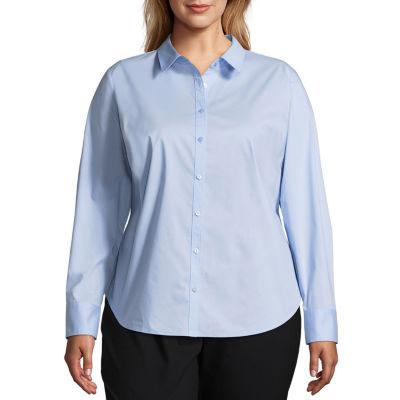 Worthington Long Sleeve Button-Front Shirt - Plus