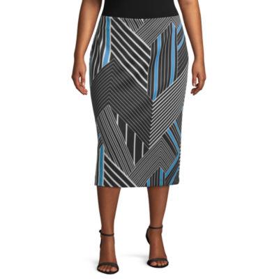 Worthington Printed Scuba Skirt - Plus