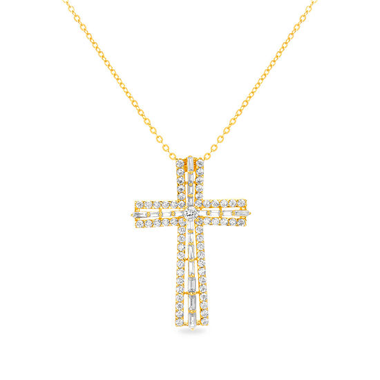 Sparkle Allure Boxed Fsp Cz Cubic Zirconia 14K Gold Over Brass 17 Inch Rolo Cross Pendant
