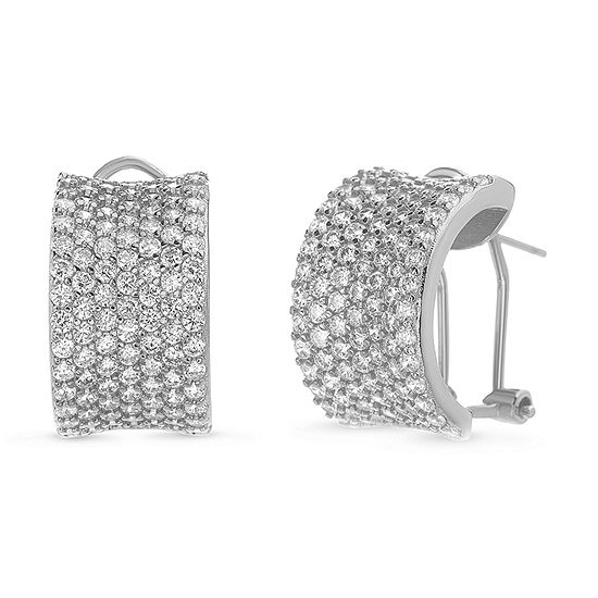 Sparkle Allure Boxed Fsp Cz Cubic Zirconia Pure Silver Over Brass Hoop Earrings