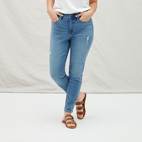 a.n.a Womens High Rise Ripped Skinny Ankle Jean