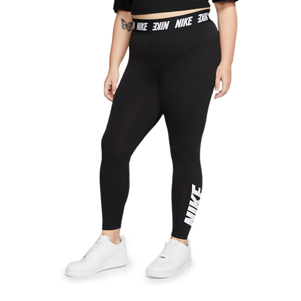 Nike Plus Womens High Waisted Legging Color Black White Jcpenney