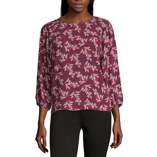 a.n.a. Womens Round Neck 3/4 Sleeve Blouse