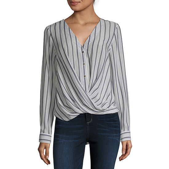 a.n.a Womens Long Sleeve Relaxed Fit Button-Front Shirt