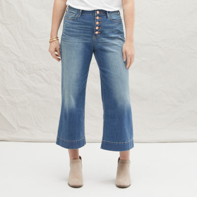 a.n.a Womens High Rise Wide Leg Cropped Jean