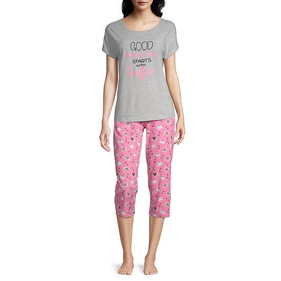 Be Yourself Womens 2-pc. Capri Pajama Set Short Sleeve Round Neck