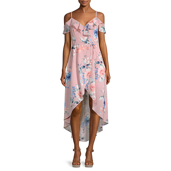 Byer California-Juniors Short Sleeve Cold Shoulder Floral Wrap Dress