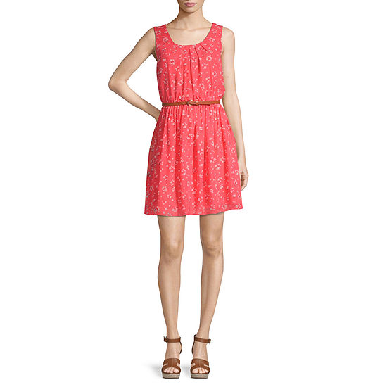 Byer California-Juniors Sleeveless Floral Fit & Flare Dress