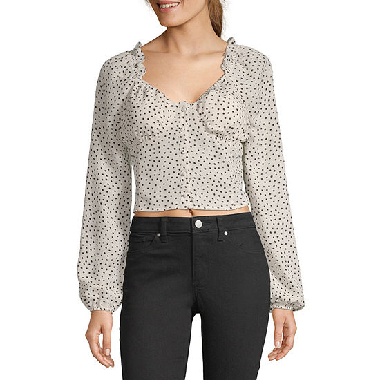 Society And Stitch-Juniors Womens Long Sleeve Dobby Blouse