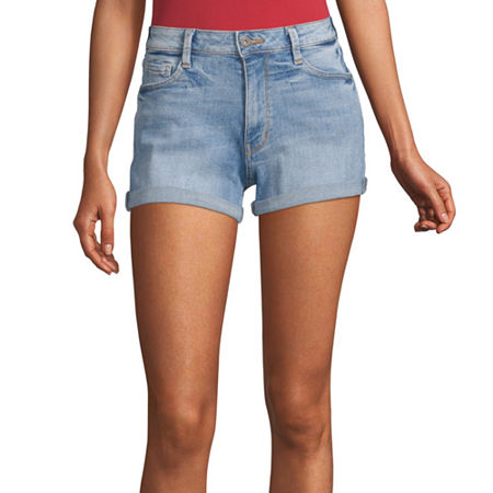Arizona Womens High Rise Shortie Short-Juniors, 1 , Blue