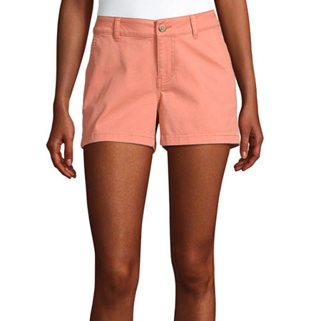 a.n.a Womens Mid Rise Chino Short, 4 , Orange