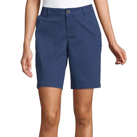 a.n.a Womens Mid Rise Chino Short, 2 , Blue